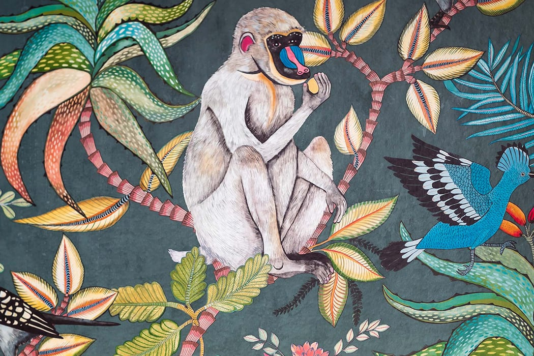 The vibrant wallpaper speaks to the local flora and fauna of the Bahamas.