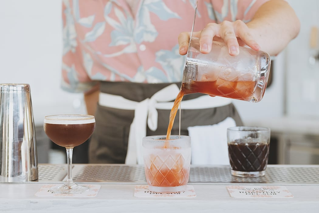 Classic barware is used for coffee-based