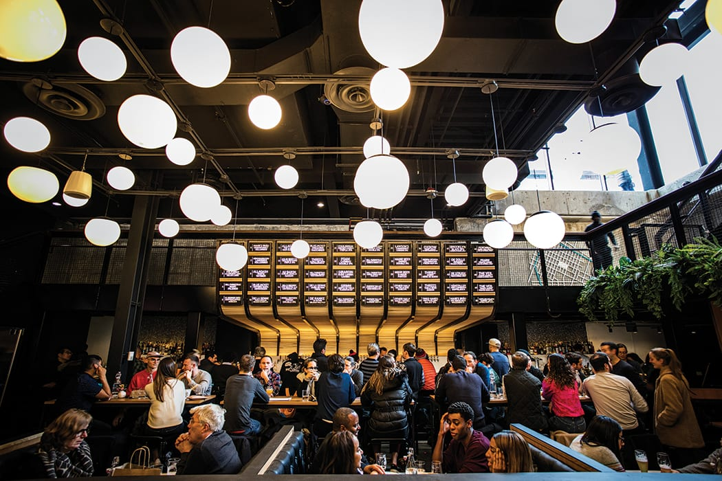 The bar is part of the new subterranean Market Line, a sprawling Lower East Side food hall.