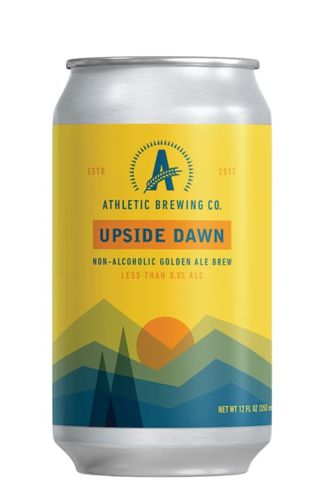 Athletic Brewing Co.   Upside Dawn Non-Alcoholic Golden Ale.   $12.99/6-pack, athleticbrewing.com