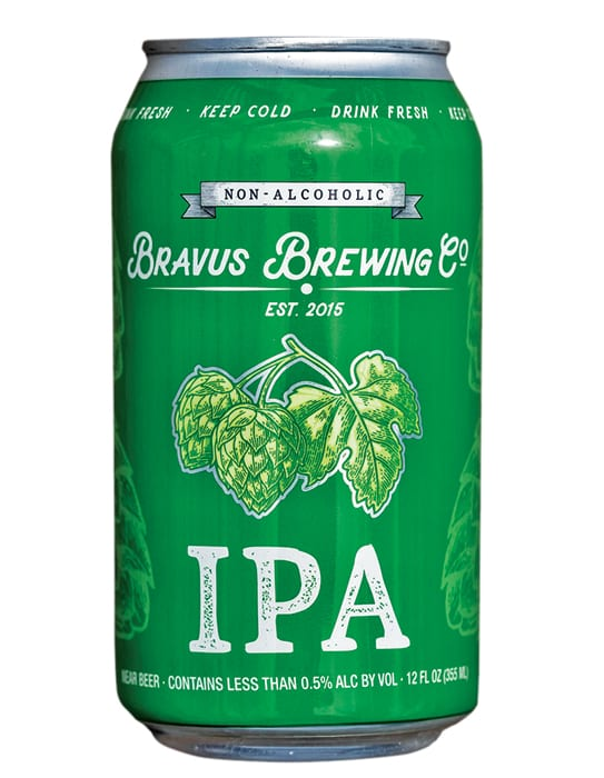 Bravus Brewing Co.   Non-Alcoholic IPA.   $10.99/6-pack, bravus.com