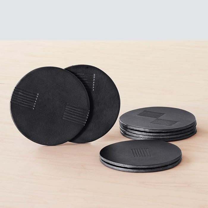 Azad Leather Coasters. | $65, the-citizenry.com