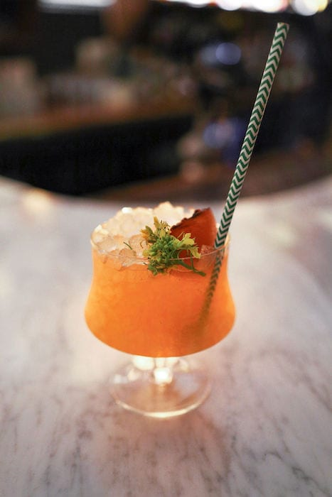 The Burnt Orange Sherry Cobbler amps up the classically low-abv cocktail with a pour of Japanese whisky.