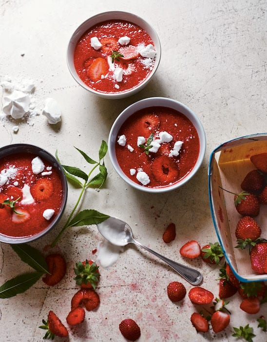 strawberry champagne soup