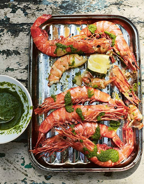 Giant Prawns with Preserved Lemon, Herbs and Brandy. | Photo by Laura Edwards.